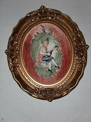 Vintage Porcelain Framed Bisque Plaque Boy Playing Instrument Gold Frame 8x10