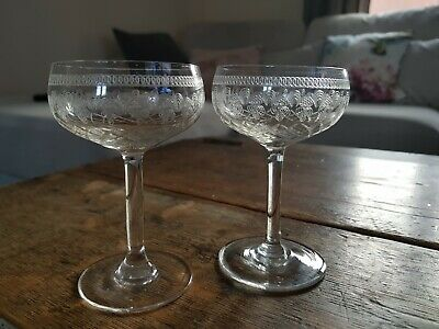 Pair of Antique Edwardian Pall Mall Crystal Rare Miniature Champagne glasses.