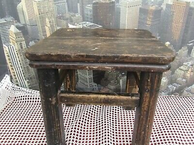 Vintage ? 1930's Wooden Solid Oak Industrial Stool Plant Stand Lamp Side Table