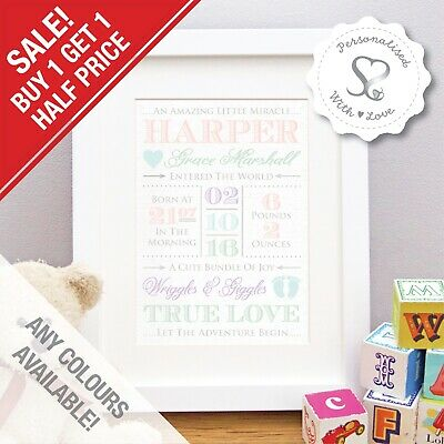 Birth Details Print Personalised Baby Picture Christening Gift Vintage Nursery