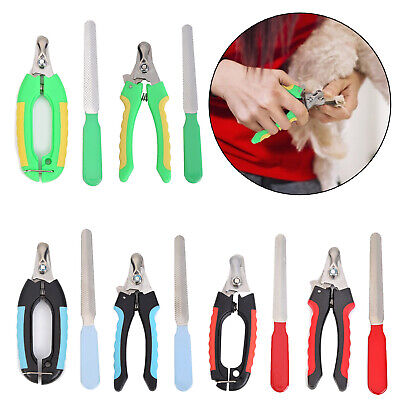 Pet Nail Dog Cat Claw Clippers Trimmer Scissors Grooming Cutters File Set S/L