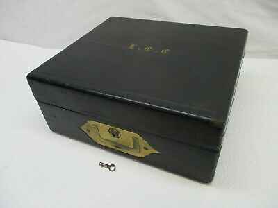 Large Vintage Dressing/Sewing Box, Leather Bound Lots Of Brass, Jewellery Box