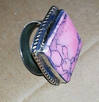 Womens Big chunky PINK Turquoise Stone RING GYPSY Boho TRIBAL Kuchi Jewellery