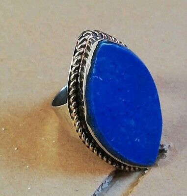 Womens Big chunky Blue Lapis lazuli Stone RING GYPSY Boho TRIBAL Kuchi Jewellery