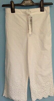 Bnwt M&S Girls Trousers Age 9-10 , Cotton Summer White
