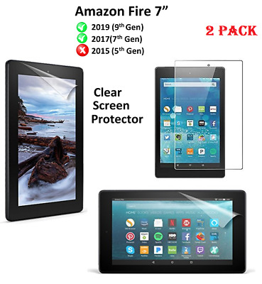 "2 X Clear HD Screen Protector Guard Cover For Amazon New Fire 7""(9th Gen)2019"