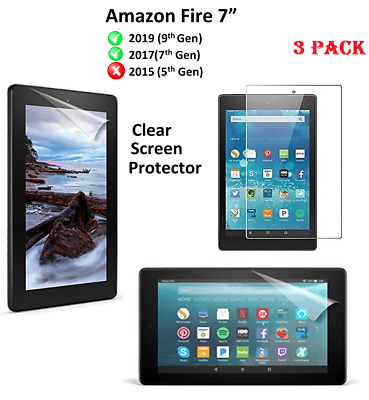 "3 X Clear HD Screen Protector Guard Cover For Amazon New Fire 7""(9th Gen)2019"