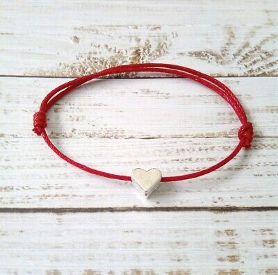 Baby Boy Girl Newborn up to 3 years Lucky Red Cord Bracelet with Love Heart