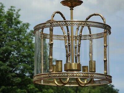 Stunning Vintage Maison Bagues Style Gilt / Brass Faux Bamboo Lantern Chandelier