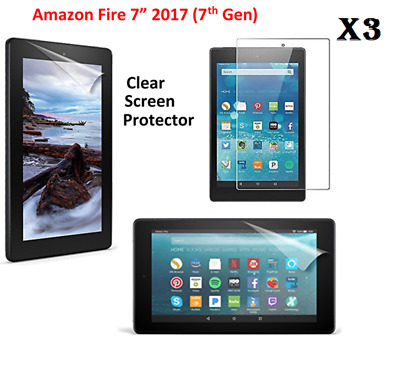 "3 X Clear HD Screen Protector Guards Cover For Amazon Fire 7""(7th Gen) 2017"