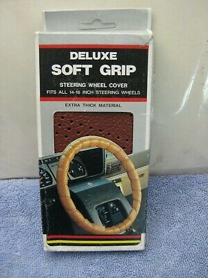 "NOS 1980's Red Universal Steering Wheel Cover Lace-On fits 14"" to 16"" Soft Grip"