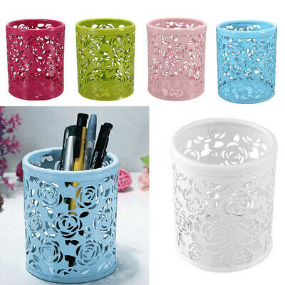 Metal Hollow Rose Flower Design Cylinder Pen Pencil Pot  Brush Holder Contain SU
