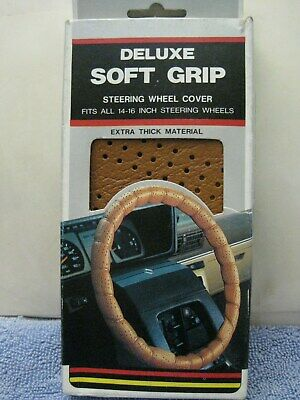 "NOS 1980's Tan Universal Steering Wheel Cover Lace-On fits 14"" to 16"" Soft Grip"