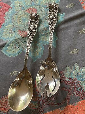 Shiebler Floral Sterling Silver Salad Set Heavy Cast Unique  Flora