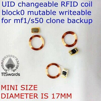NFC coil UID changeable RFID card w/ block0 writable chip mf1 1k s50 13.56Mhz
