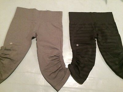 d2dc41f8e2 2 Lululemon In The Flow & Go Crop Capri Tights Pant Charcoal stripe & gray 8