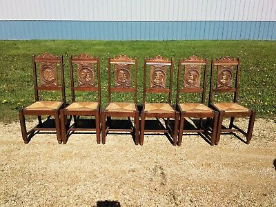 SET of Six Carved French BRETON Britney Dining Chairs
