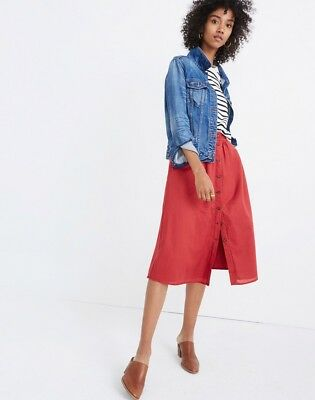 fd2bab1ad4 NEW MADEWELL PALISADE Button Front Skirt. Warm Berry. Size 2. H8163 ...