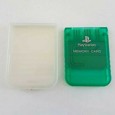 Genuine Authentic Original Sony PlayStation 1 PS1 Memory Card Clear Green + Case