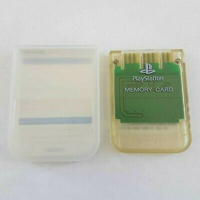 Genuine Authentic Original Sony PlayStation 1 PS1 Memory Card Clear + Case
