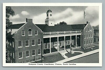 Sampson County Courthouse CLINTON North Carolina—Confederate Statue Vintage 50s