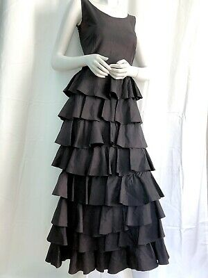 1930s Antique Gown Late Edwardian Early DECO Taffeta Ruffle Gown OLD HOLLYWOOD