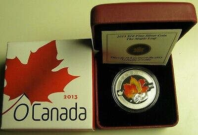 2013 Proof $10 O Canada-Maple Leaf Coloured .9999 silver ten dollars