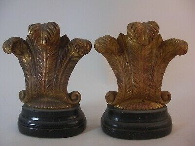 Prince Wales Plume Bookend Gold Gilt Faux Painted Marble French Grand Tour Style
