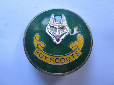 BOY SCOUTS LARGE CAP BADGE NICKEL PLATED BRASS & ENAMEL PAINTED c1950s EXCELLENT