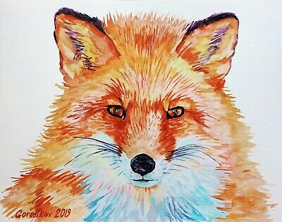 10X8 RED FOX, WILDLIFE ANIMAL ART original watercolor