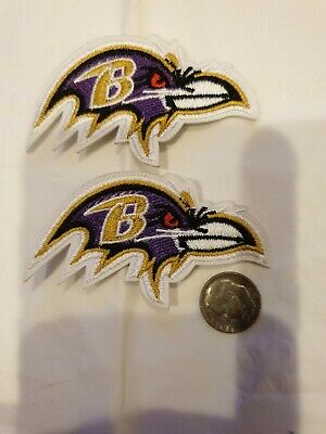 9ea07883a6f194 (2) Baltimore ravens Iron On Embroidered Patches patch lot 2.75