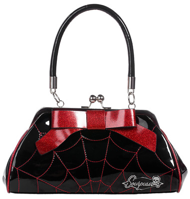 Sourpuss Red Spider Web Floozy Purse NEW Goth Pin Up Ghoul