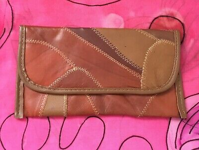 Ladies Brown Genuine Leather Patchwork Stitched Clutch Purse Wallet 1970s Hippy