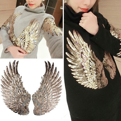 Iron-On Angel Wings Paste Cloth Feather Sequin Patch Clothes Decor Embroidery