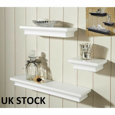 Floating Wall Shelf Wooden Shelves Wall Storage - White/Black - Pack of 3