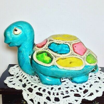 Vintage Chalkware Turtle Coin Bank Blue Multicolored Colorful