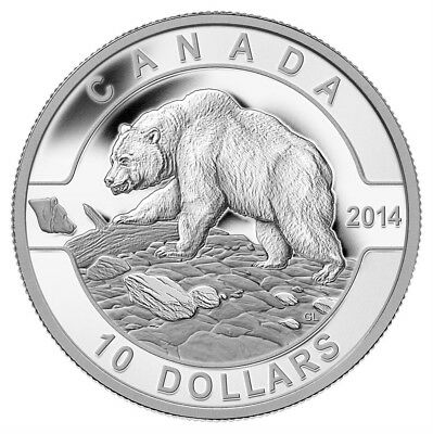 CANADA 10 Dollars 2014 Silver Matte Proof 'O'Canada - Grizzly Bear' Box/CoA