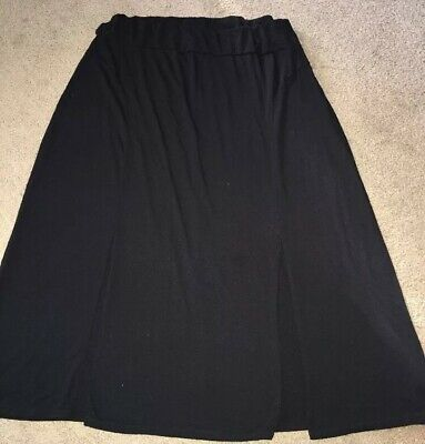 FADED GLORY Women/'s Pull On Lace Woven Maxi Skirt Solid Black XL Renaissance
