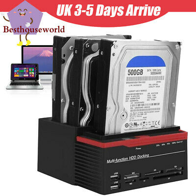 "2.5"" 3.5"" Dirve SATA IDE HDD Hard Drive Dock Station Dual-Bay USB 3.0 HUB Reader"