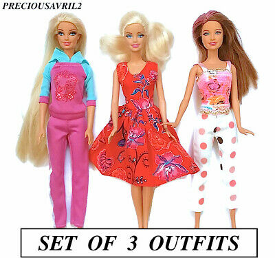 New barbie doll clothes clothing set of 3 outfits pants dress top tracksuit