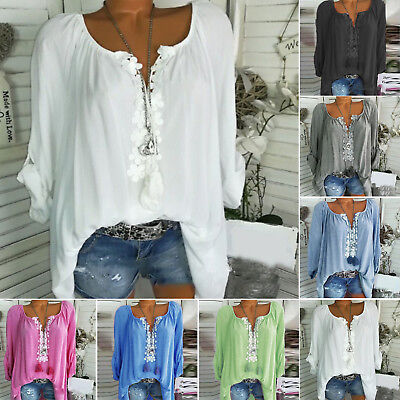 Plus Size Womens Boho Floral Long Sleeve Blouse Baggy Tops Beach Casual T-Shirt