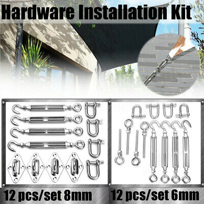 12Pcs/Set Shade Sail Kit 8mm/6mm Stainless Steel Marine 4-Point Square