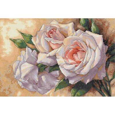 """DIMENSIONS GOLD COLLECTIONS """"WHITE ROSES"""" CROSS STITCH KIT Kreuzstich-Stickpacku"""