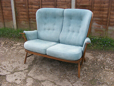 Vintage Ercol Golden Dawn Evergreen High Back Two 2 Seater Sofa with Cushions