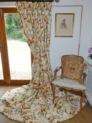 "COLEFAX & FOWLER CURTAINS Interlined BEAUFORT Iris Ea 103""W 115""D Floral Chintz"