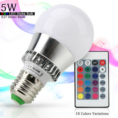 E14/E26 5W RGB LED Light Bulb Multi Color Change Lamp + Remote Control for Party