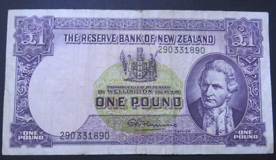 1956 Old New Zealand £1 One Pound Banknote - R.N. Fleming - Very Fine (HE185)