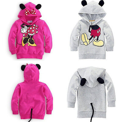 Kids Girls Boys Ear Tail Mickey Minnie Mouse Print Jumper Tops Hooded Sweatshirt