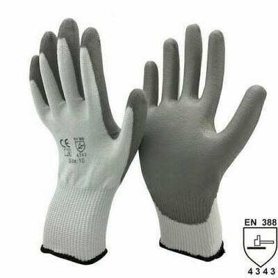 Grey Nitrile Palm Work Gloves x 12 Pairs General purpose hand protection Size 8