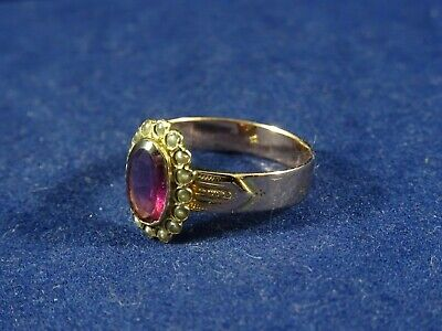 French Victorian Era 18ct Rose Gold Pinky Red Garnet & Pearl Ring. French Eagle